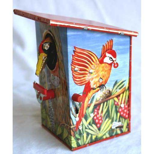 Tin Woodpecker Money Box