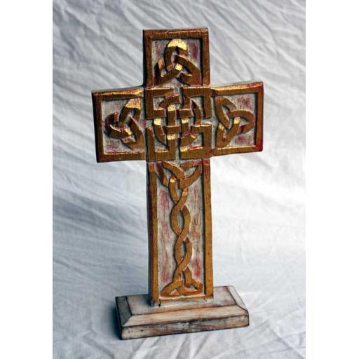 Standing Celtic Gold Cross