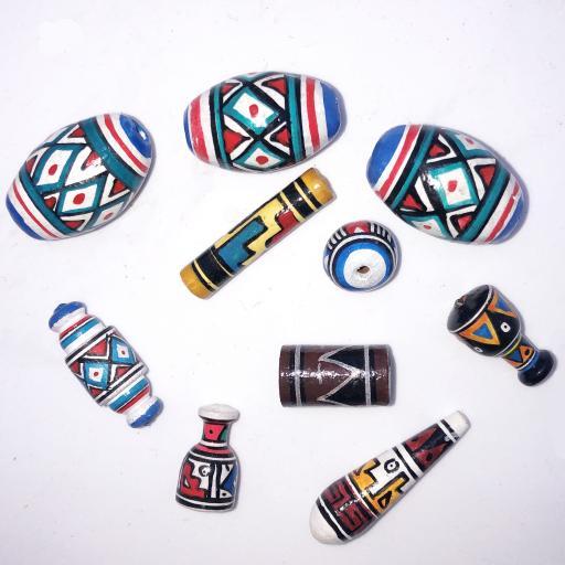 10 x Clay Maya Beads