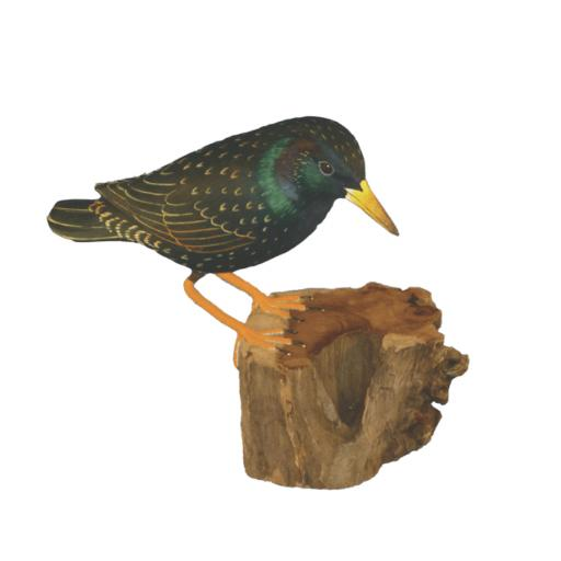 Carved Wooden Starling