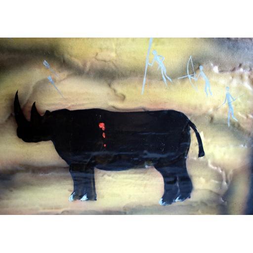 Medium Framed 3D Rhino Cave Painting