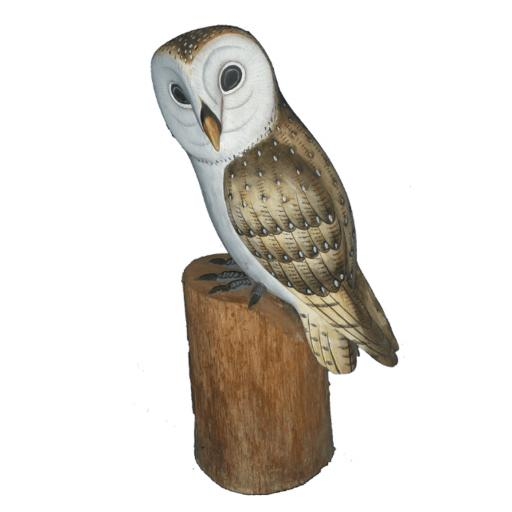 Carved Wooden Barn Owl