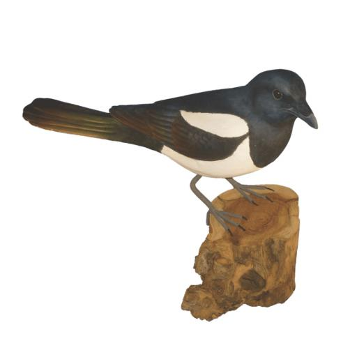 Carved Wooden Magpie