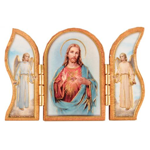 Wood Triptych (Gold Foil) - Sacred Heart