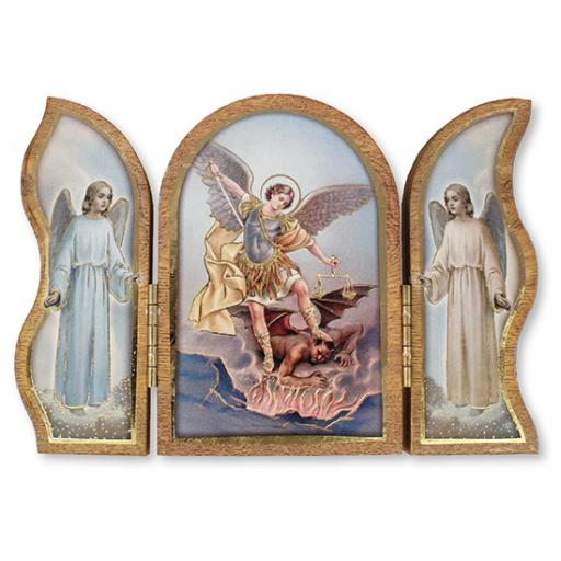 Wood Plaque Triptych of Saint Michael