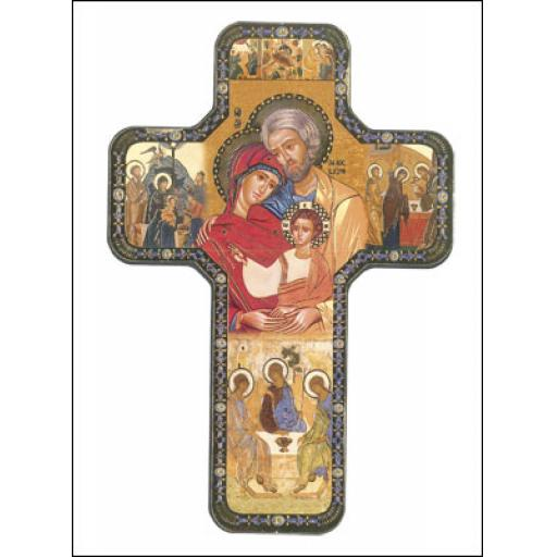 Wood Icon Cross - Holy Family
