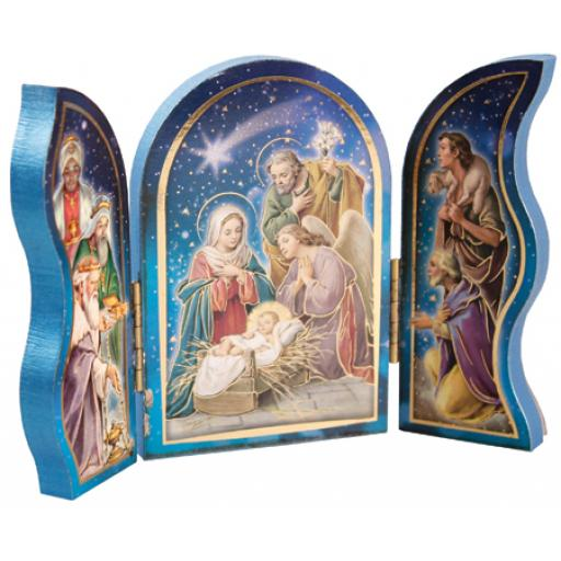 Wood Nativity Triptych with Gold Foil Highlights