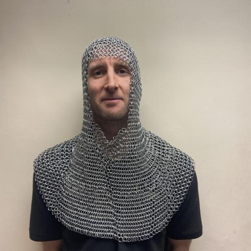 Medieval Square Face Stainless Steel Chainmail Hood