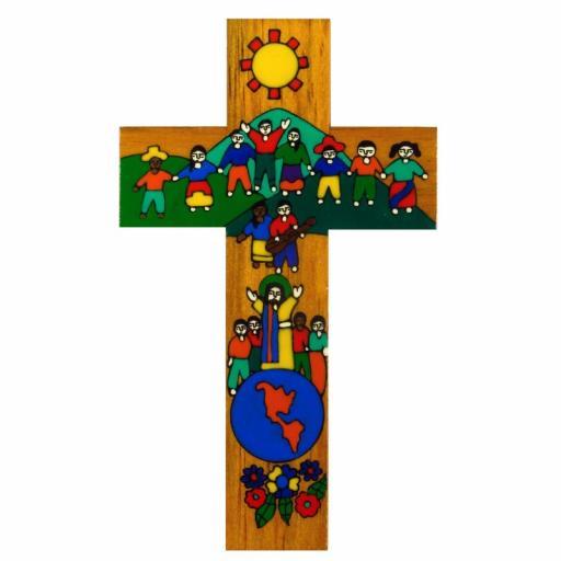 Children of the World Hand Painted Cross - 15cm