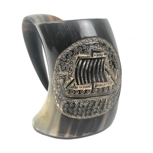 Engraved Viking Horn Tankard