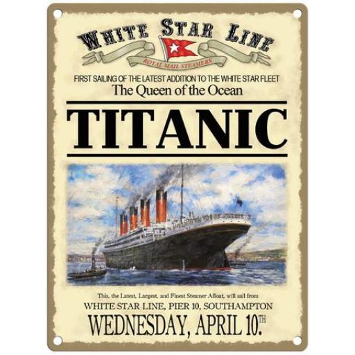 Titanic Large Metal Sign