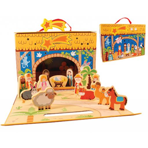 Childrens Wooden Nativity Set with Shed