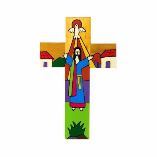 Risen Christ Hand Painted Cross - 10cm
