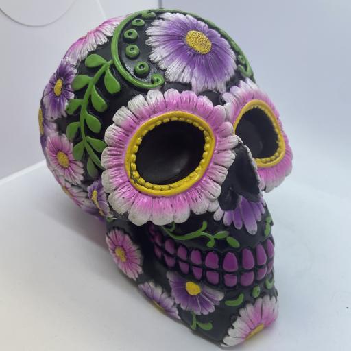 Day of the Dead Flower Skull Moneybox